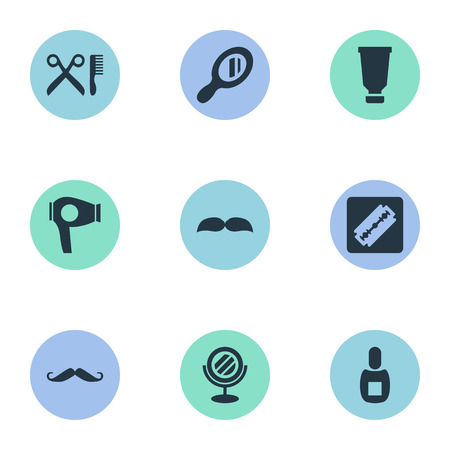 Vector Illustration Set Of Simple Beautician Icons. Elements Whiskers, Beard, Reflector And Other Synonyms Drying, Mustache And Glass. Illustration