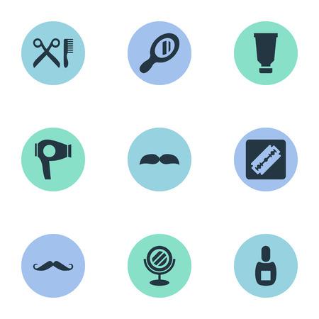 Vector illustratie Set van eenvoudige schoonheidsspecialist pictogrammen. Elementen snorharen, baard, reflector en andere synoniemen drogen, snor en glas. Stock Illustratie