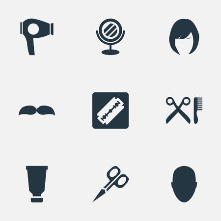 Vector illustratie Set van eenvoudige schoonheidsspecialist pictogrammen. Elementenbaard, droogmachine, kapperhulpmiddelen en andere synoniemenvrouw, snor en baard.