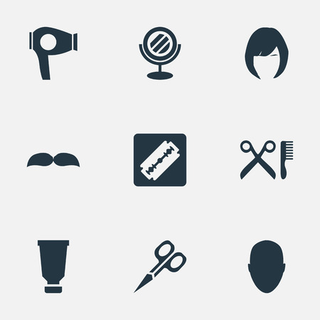 Vector Illustration Set Of Simple Beautician Icons. Elements Beard, Drying Machine, Barber Tools And Other Synonyms Woman, Mustache And Beard.