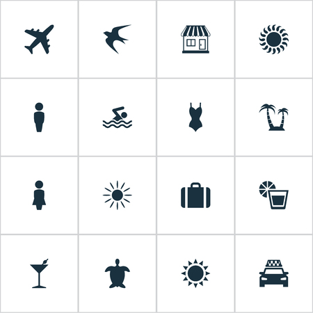 Vector Illustration Set Of Simple Seaside Icons. Elements Cocktail, Hot, Airplane And Other Synonyms Tortoise, Store And Drink.
