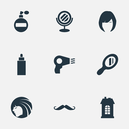Vector Illustration Set Of Simple Hairdresser Icons. Elements Whiskers, Premises, Container And Other Synonyms Lady, Smell And Building.