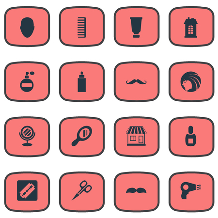 Vector Illustration Set Of Simple Barber Icons. Elements Reflector, Beard, Peeper And Other Synonyms Supermarket, Smell And Beautiful. Illusztráció