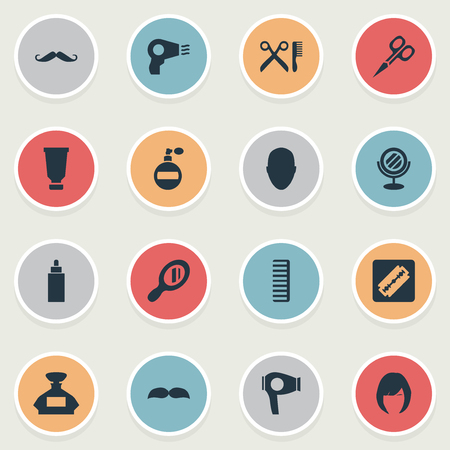 Vector Illustration Set Of Simple Hairdresser Icons. Elements Cut Tool, Barber Tools, Blow Dryer And Other Synonyms Drying, Mustache And Comb.