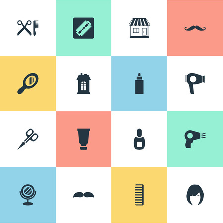 Vector Illustration Set Of Simple Barber Icons. Elements Hair, Drying Machine, Supermarket And Other Synonyms Hair, Hackle And Flask.