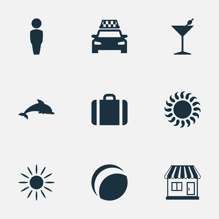 packet driver: Vector Illustration Set Of Simple Beach Icons. Elements Cocktail, Taxi, Store And Other Synonyms Dolphin, Sunlight And Party.