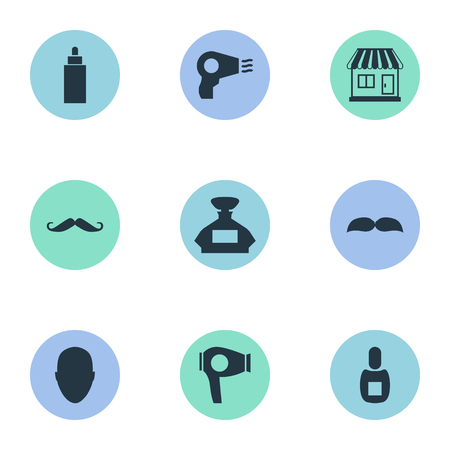 Vector Illustration Set Of Simple Barber Icons. Elements Scent, Drying Machine, Container And Other Synonyms Container, Man And Machine.