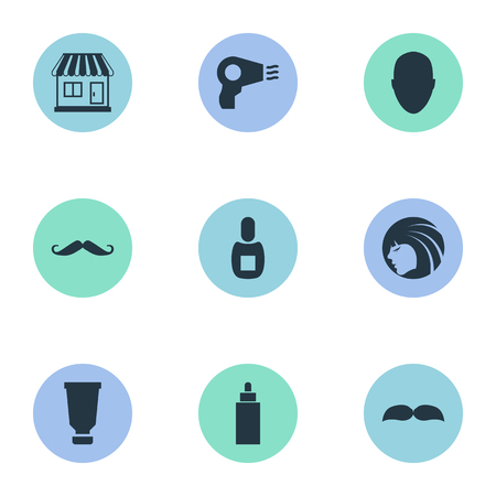 Vector Illustration Set Of Simple Beautician Icons. Elements Supermarket, Flask, Blow Dryer And Other Synonyms Supermarket, Man And Flask.