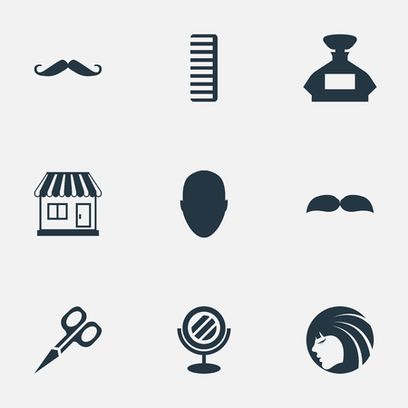 Vector Illustration Set Of Simple Hairdresser Icons. Elements Whiskers, Hackle, Glamour Lady And Other Synonyms Whiskers, Mirror And Male.