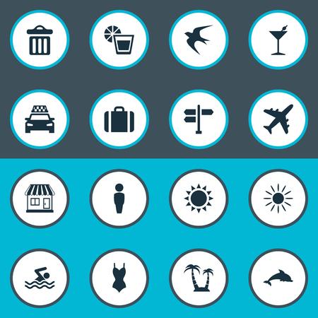 Vektor-Illustrations-Satz einfache Küsten-Ikonen. Elemente heiß, Flugzeug, Getränke und andere Synonyme Mülltonne, Frau und Schwimmen.