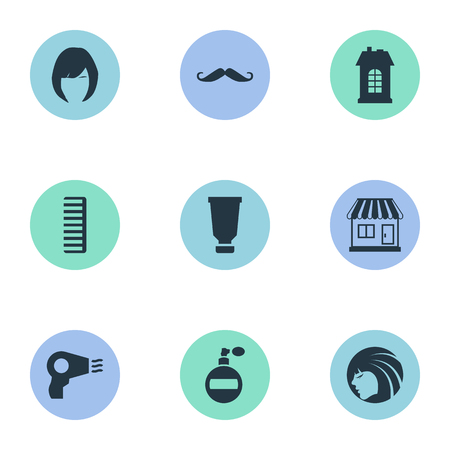 mujer en el supermercado: Vector Illustration Set Of Simple Hairdresser Icons. Elements Hackle, Supermarket, Aroma And Other Synonyms Machine, Store And Supermarket.