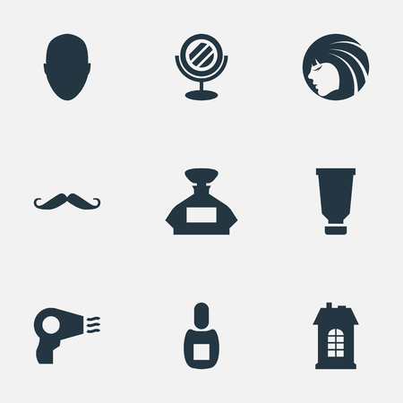 Vector Illustration Set Of Simple Beautician Icons. Elements Premises, Flask, Scent And Other Synonyms Machine, Whiskers And Lady. Illustration