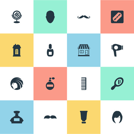 Vector Illustration Set Of Simple Beautician Icons. Elements Bottle, Hackle, Beard And Other Synonyms Head, Vial And Comb.