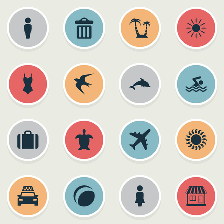 Vector Illustration Set Of Simple Seaside Icons. Elements Mammal Fish, Woman, Tortoise And Other Synonyms Beach, Tortoise And Dustbin.