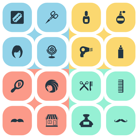 Vector Illustration Set Of Simple Hairdresser Icons. Elements Cut Tool, Beard, Flask And Other Synonyms Aroma, Beard And Hair. Illustration