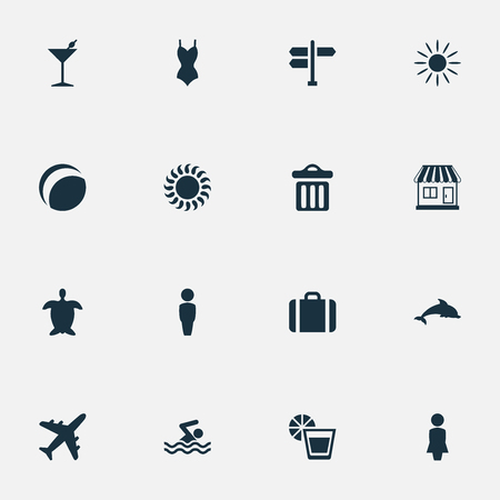 Vector Illustration Set Of Simple Beach Icons. Elements Beverage, Male, Suitcase And Other Synonyms Dustbin, Gentleman And Beach.