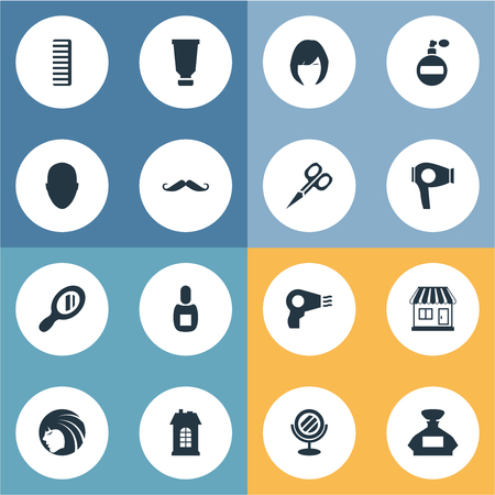 Vector Illustration Set Of Simple Hairdresser Icons. Elements Bottle, Peeper, Human And Other Synonyms Lady, Shop And Man. Ilustracja