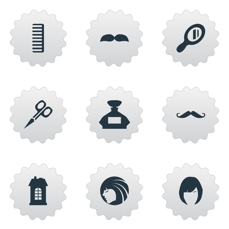 Vector Illustration Set Of Simple Beautician Icons. Elements Glamour Lady, Reflector, Beard And Other Synonyms Architecture, Girl And Woman. Illustration