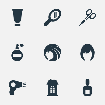 Vector Illustration Set Of Simple Barber Icons. Elements Aroma, Flask, Glamour Lady And Other Synonyms Scissors, Machine And Vial.