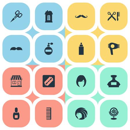 Vector illustratie Set van eenvoudige schoonheidsspecialist pictogrammen. Elementen droogmachine, scheerapparaat, snijgereedschap en andere synoniemenarchitectuur, gereedschap en vrouw.