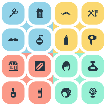 Vector Illustration Set Of Simple Beautician Icons. Elements Drying Machine, Shaver, Cut Tool And Other Synonyms Architecture, Tool And Woman.