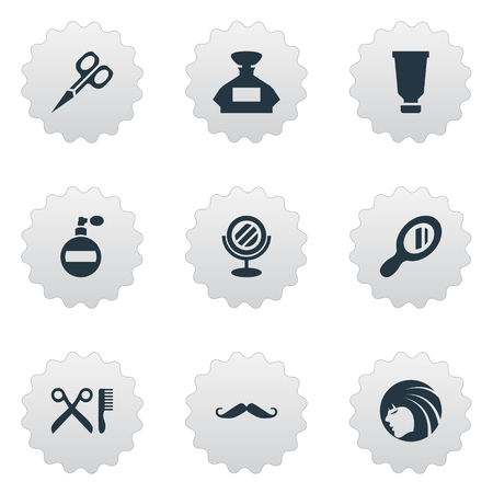 Vector Illustration Set Of Simple Barber Icons. Elements Barber Tools, Glamour Lady, Aroma And Other Synonyms Tube, Reflector And Scissors.