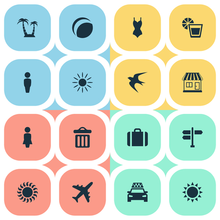 Vector Illustration Set Of Simple Beach Icons. Elements Crossroad, Airplane, Beach Games And Other Synonyms Airplane, Island And Trip.