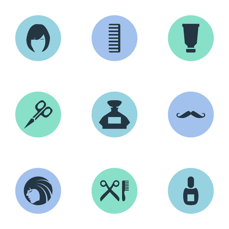 Vector Illustration Set Of Simple Beautician Icons. Elements Scent, Glamour Lady, Hackle And Other Synonyms Barbershop, Container And Perfume.