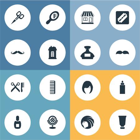 Vector illustratie Set van eenvoudige kapper pictogrammen. Elementen Container, Flask, Kapper Tools en andere synoniemen Hackle, supermarkt en geur.