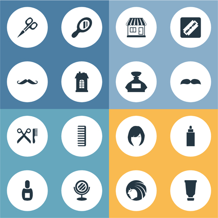 coiffeur: Vector Illustration Set Of Simple Hairdresser Icons. Elements Container, Flask, Barber Tools And Other Synonyms Hackle, Supermarket And Odor.