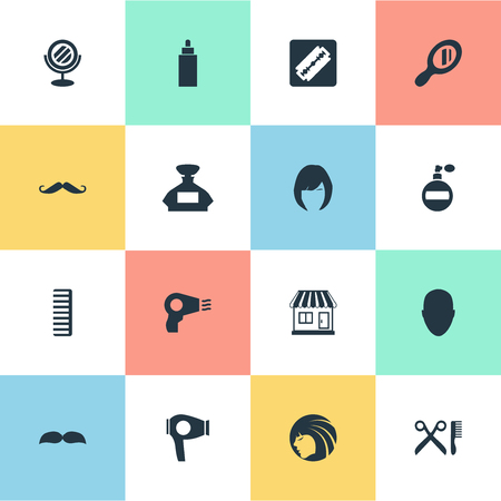 Vector Illustration Set Of Simple Barber Icons. Elements Glamour Lady, Shaver, Container And Other Synonyms Tool, Mustache And Beautiful.