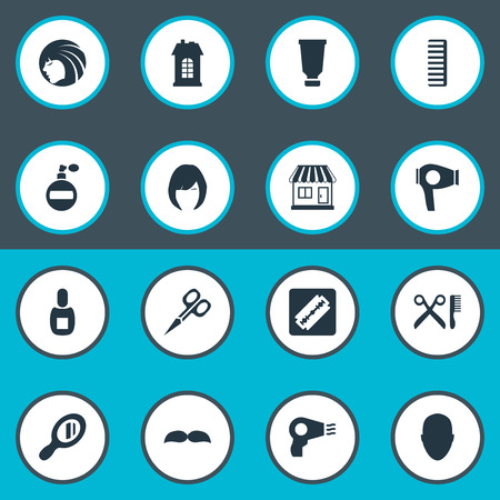 Vector Illustration Set Of Simple Hairdresser Icons. Elements Hackle, Shaver, Cut Tool And Other Synonyms Glass, Flask And Tube.