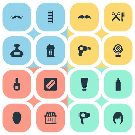Vector illustratie Set van eenvoudige kapper pictogrammen. Elements Peeper, Premises, Scent And Other Synoniemen Perfume, Machine and Moustache.