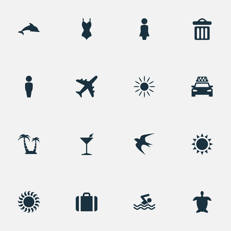 Vector Illustration Set Of Simple Beach Icons. Elements Airplane, Suitcase, Woman And Other Synonyms Mammalian, Bikini And Missus. Illustration