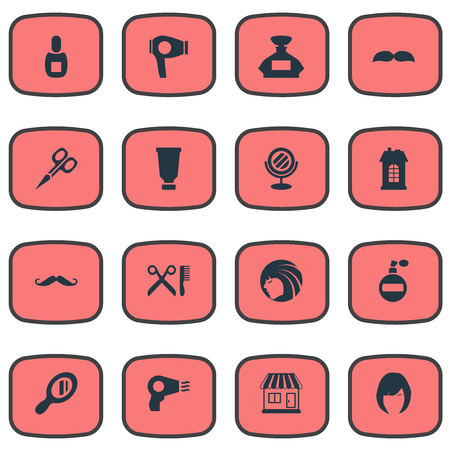 Vector Illustration Set Of Simple Barber Icons. Elements Whiskers, Cut Tool, Hair And Other Synonyms Shop, Looking-Glass And Vial.