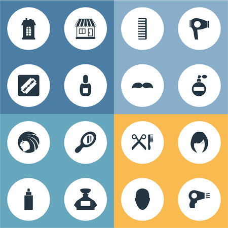 Vector Illustration Set Of Simple Hairdresser Icons. Elements Aroma, Hackle, Premises And Other Synonyms Construction, Tube And Mirror.