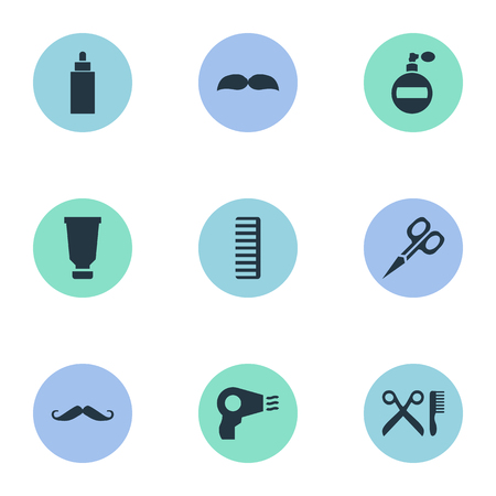 Vector Illustration Set Of Simple Beautician Icons. Elements Cut Tool, Beard, Aroma And Other Synonyms Beard, Scissors And Perfume. Reklamní fotografie - 78496577