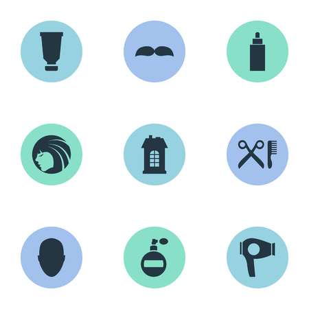 edifice: Vector Illustration Set Of Simple Hairdresser Icons. Elements Drying Machine, Premises, Container And Other Synonyms Bottle, Mustache And Head.