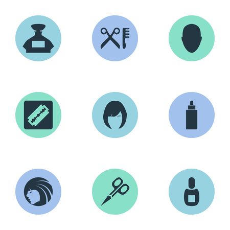 Vector Illustration Set Of Simple Barber Icons. Elements Barber Tools, Glamour Lady, Container And Other Synonyms Hair, Comb And Head.