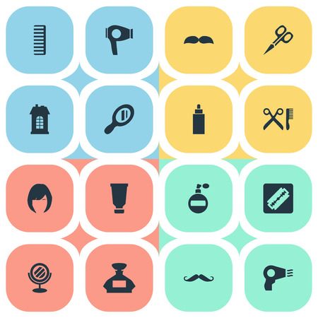 Vector Illustration Set Of Simple Barber Icons. Elements Drying Machine, Barber Tools, Cut Tool And Other Synonyms Scent, Smell And Drying.