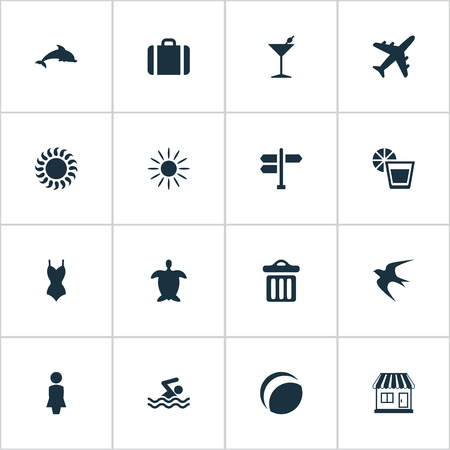 Vector Illustration Set Of Simple Seaside Icons. Elements Hot, Woman, Beach Games And Other Synonyms Hot, Garbage And Tortoise.