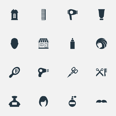 Vector illustratie Set van eenvoudige kapper pictogrammen. Elements Barber Tools, Supermarket, Glamour Lady en andere synoniemengeur, supermarkt en kapperszaak. Stock Illustratie