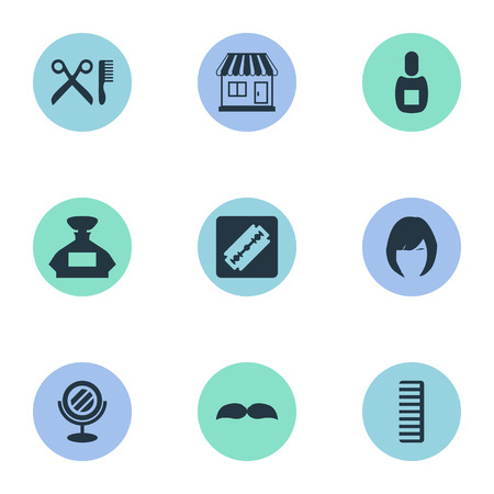 Vector Illustration Set Of Simple Barber Icons. Elements Peeper, Supermarket, Beard And Other Synonyms Looking-Glass, Woman And Shaver.