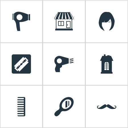 Vector illustratie Set van eenvoudige kapper pictogrammen. Elementen Föhn, scheerapparaat, haar en andere synoniemen Winkel, machine en architectuur. Stock Illustratie