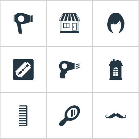 Vector Illustration Set Of Simple Hairdresser Icons. Elements Blow Dryer, Shaver, Hair And Other Synonyms Shop, Machine And Architecture.