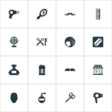 Vector illustratie Set van eenvoudige schoonheidsspecialist pictogrammen. Elements Peeper, Barber Tools, Shaver And Other Synoniemen Head, Lady And Machine.