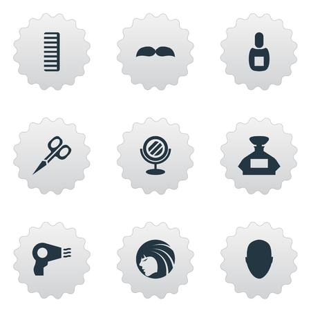 Vector Illustration Set Of Simple Beautician Icons. Elements Glamour Lady, Peeper, Blow Dryer And Other Synonyms Hair, Clipper And Hairdryer. Ilustracja