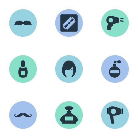Vector Illustration Set Of Simple Beautician Icons. Elements Whiskers, Beard, Blow Dryer And Other Synonyms Razor, Scent And Tool.
