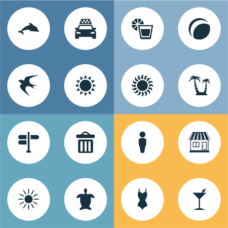 Vector Illustration Set Of Simple Beach Icons. Elements Bikini, Palm, Beach Games And Other Synonyms Trash, Hot And Bikini.