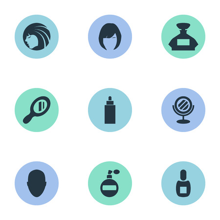 Vector Illustration Set Of Simple Beautician Icons. Elements Human, Container, Reflector And Other Synonyms Woman, Container And Bottle. Ilustracja